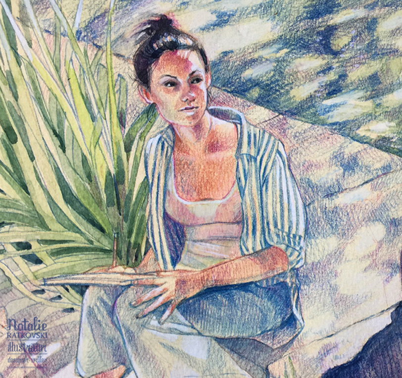 Drawing from life in Provence, watercolor, colored and pastel pencils on gessoed background