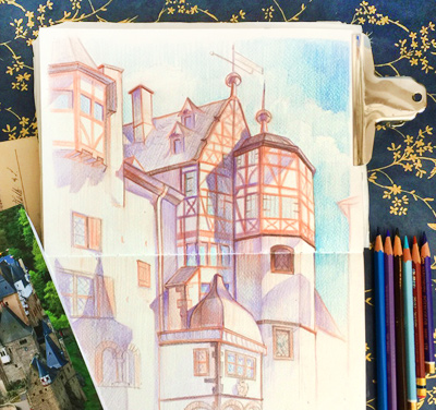 Drawing from life in Elz castle, Germany