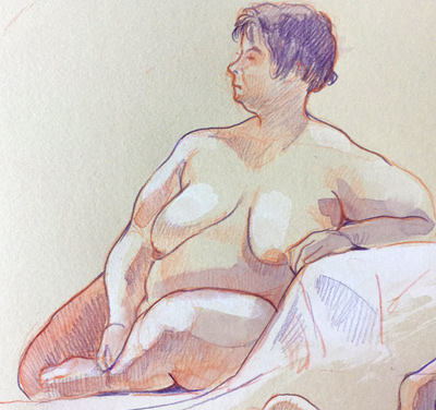Nude drawing from life in Essen Borbeck
