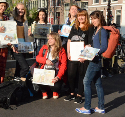 Urban sketching work shop in Amsterdam, May 2016