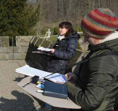 Illustration work shop with plein air in Drachenburgh, March 2016