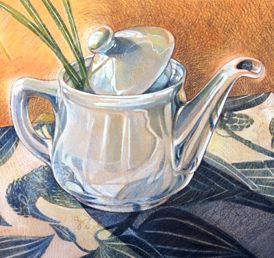 Teapot, watercolor, gouache and colored pencils on gessoed background