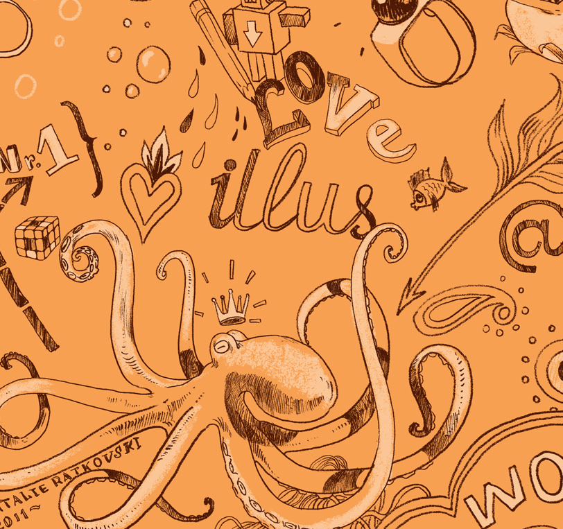 Endpaper illustration for Profession - illustrator: learn to think creative, for Mann, Ivanof & Ferber publisher, Moscow